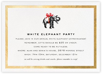 Wrapped Elephant - Gold - kate spade new york - Holiday party invitations