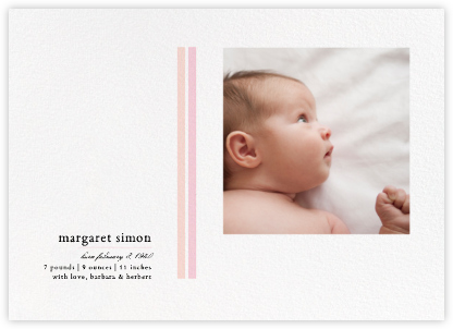 French Seam - Pink - Paperless Post - Birth Announcements
