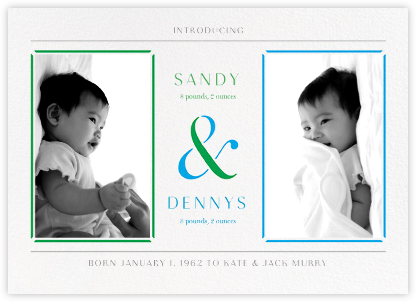 One and Two - Blue - Paperless Post - Birth Announcements
