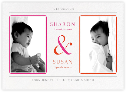 One and Two - Pink - Paperless Post - Birth Announcements