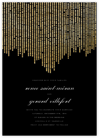 Josephine Baker - Black/Gold - Paperless Post - Wedding Invitations
