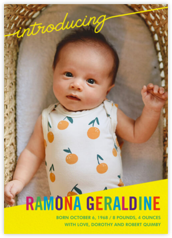 Little Debut - Yellow - Paperless Post - Birth Announcements