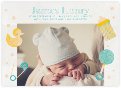 Shake, Rattle, and Roll - Blue - Paperless Post - Birth Announcements