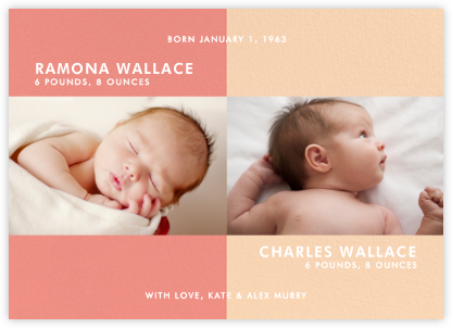 Two's Company - Pink - Paperless Post - Birth Announcements
