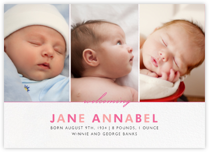 Welcome Home (Multi-Photo) - Pink - Paperless Post - Birth Announcements