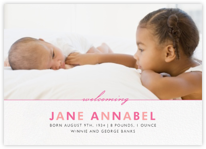 Welcome Home (Photo) - Pink - Paperless Post - Birth Announcements