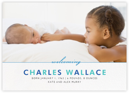 Welcome Home (Photo) - Blue - Paperless Post - Birth Announcements