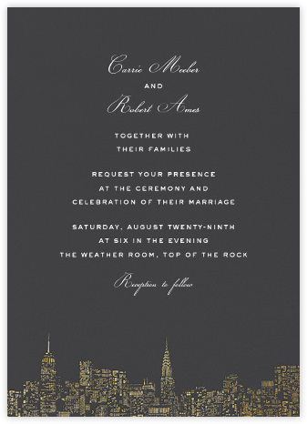 City Lights II (Invitation) - Slate/Gold  - kate spade new york - Destination wedding invitations