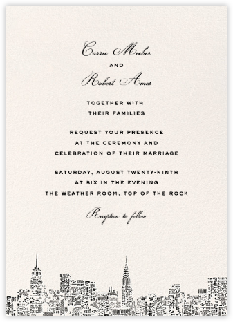 City Lights II (Invitation) - Cream/Black - kate spade new york - Wedding Invitations