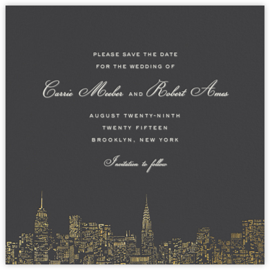 City Lights II (Save the Date) - Slate/Gold  - kate spade new york - Save the dates