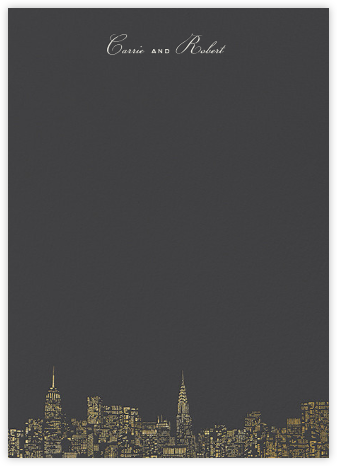 City Lights II (Stationery) - Slate/Gold - kate spade new york - Kate Spade invitations, save the dates, and cards