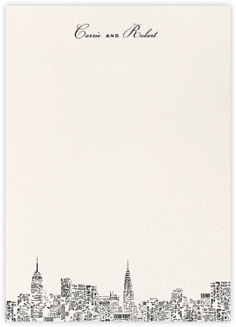 City Lights II (Stationery) - Cream/Black - kate spade new york - Kate Spade invitations, save the dates, and cards