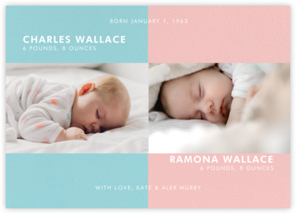 Two's Company - Mutli - Paperless Post - Birth Announcements