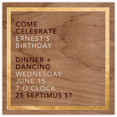 Wood Grain Light - Square (Foil) - Paperless Post - Adult Birthday Invitations