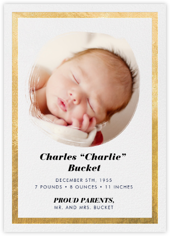Painted Circle - Gold - Paperless Post - Birth Announcements