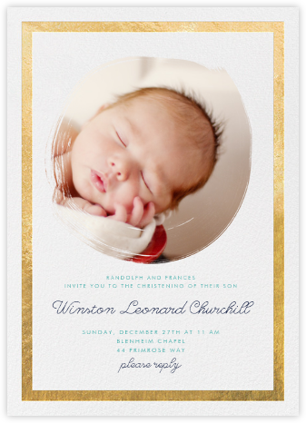 Painted Circle - Gold - Paperless Post - Christening Invitations