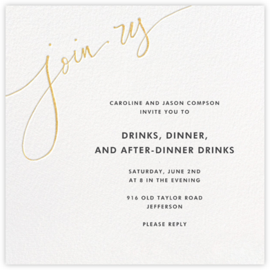 Join Us - Gold - Linda and Harriett - Online Party Invitations