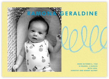 Our Little Squiggle - Yellow - Paperless Post - Birth Announcements