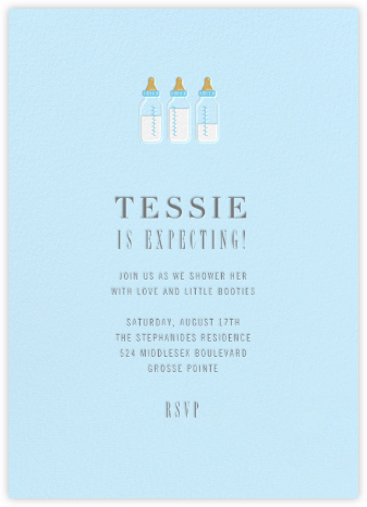 Baby Bottles - Glacier  - Paperless Post - Baby shower invitations