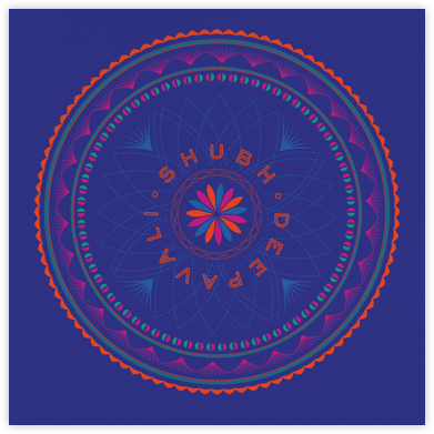Rangoli (Greeting) - Blue - Paperless Post - Diwali Cards