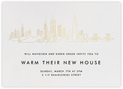 Manhattan Skyline View - White/Gold - Paperless Post - Housewarming party invitations