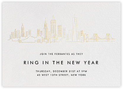 Manhattan Skyline View - White/Gold - Paperless Post - New Year's Eve Invitations