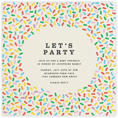 Sprinkles - Let's Party - The Indigo Bunting - Baby shower invitations