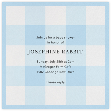 Buffalo Check - Wedgewood - Oscar de la Renta - Baby shower invitations