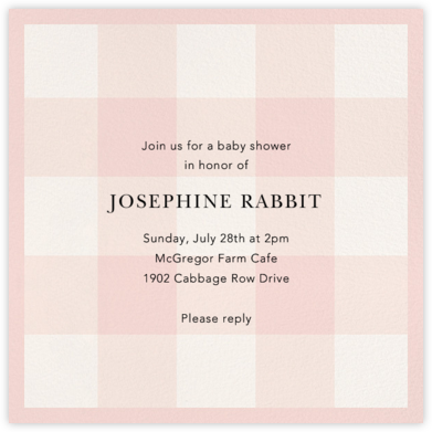 Buffalo Check - Petal - Oscar de la Renta - Online Baby Shower Invitations