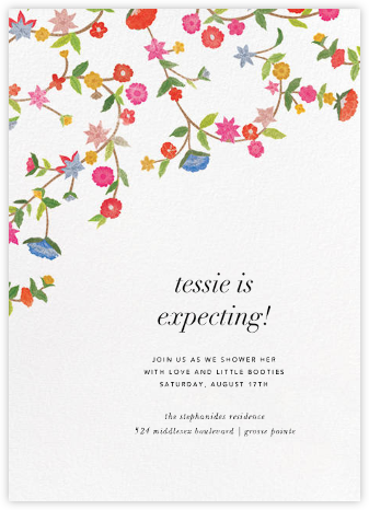Stitched Floral II - Oscar de la Renta - Baby shower invitations