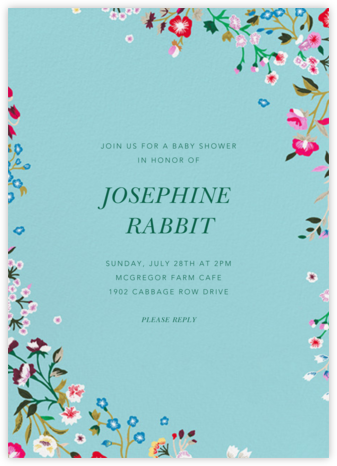 Embroidered Floral - Aquamarine - Oscar de la Renta - Baby shower invitations