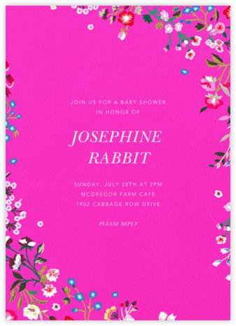 Embroidered Floral - Shocking Pink - Oscar de la Renta - Baby Shower Invitations
