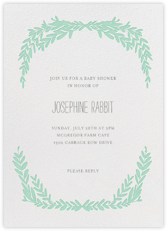 Laurel in Love - Sea Green - Mr. Boddington's Studio - Baby shower invitations
