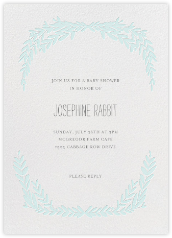 Laurel in Love - Powder - Mr. Boddington's Studio - Baby Shower Invitations