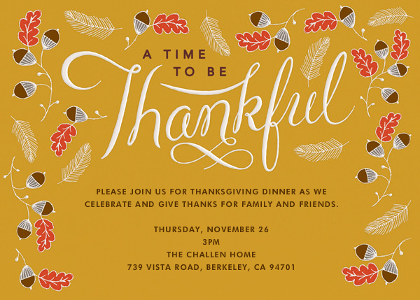 Thankful Times - Crate & Barrel - Thanksgiving invitations