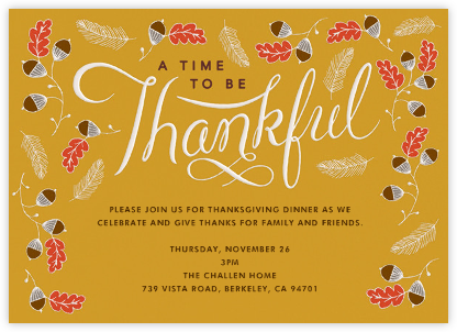 Thankful Times - Crate & Barrel - Invitations