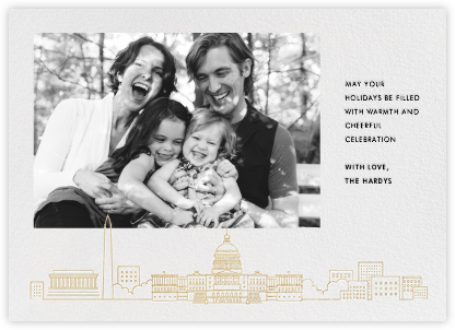 D.C. Skyline View (Photo)  - White/Gold - Paperless Post - Holiday cards