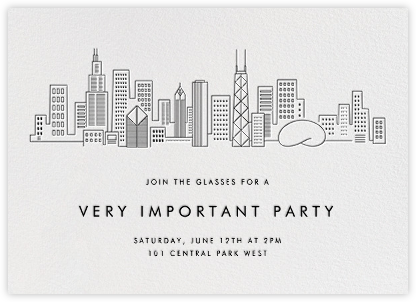 Chicago Skyline View - White/Black - Paperless Post -
