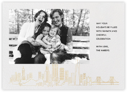 Manhattan Skyline View (Photo) - Gold - Paperless Post - Holiday Cards