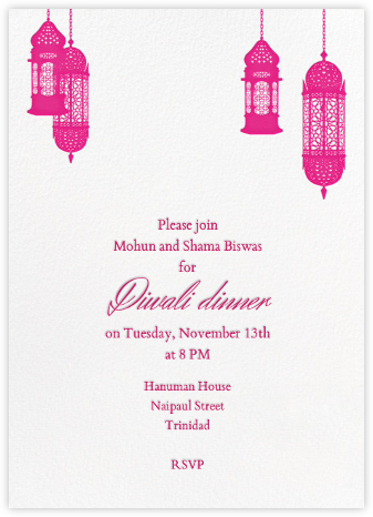 Tangiers - Pink/Ivory (Tall) - Paperless Post - Diwali invitations