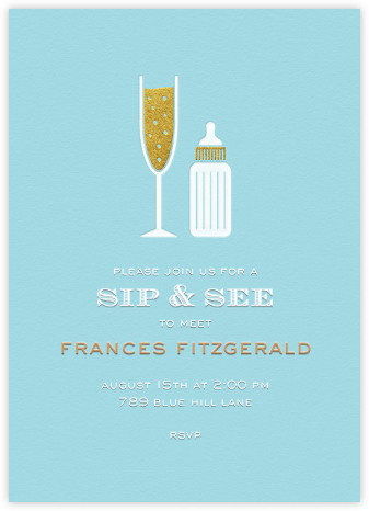 Sip & See - Blue - Paperless Post - Baby Shower Invitations