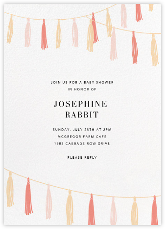 Tasseled II - Pink - Paperless Post - Baby Shower Invitations