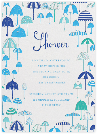 Umbrella Baby Shower - Blues - Mr. Boddington's Studio - Baby Shower Invitations