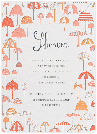Umbrella Baby Shower - Pinks - Mr. Boddington's Studio - Baby Shower Invitations