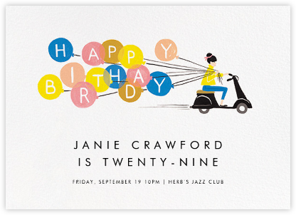 Birthday Scooter - Fair - Rifle Paper Co. - Adult Birthday Invitations