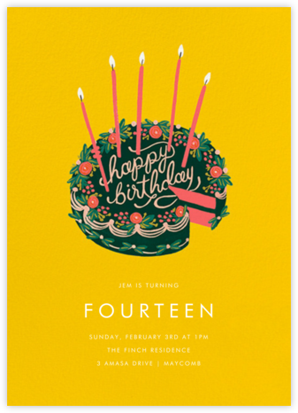 First Slice - Yellow - Rifle Paper Co. - Online Kids' Birthday Invitations