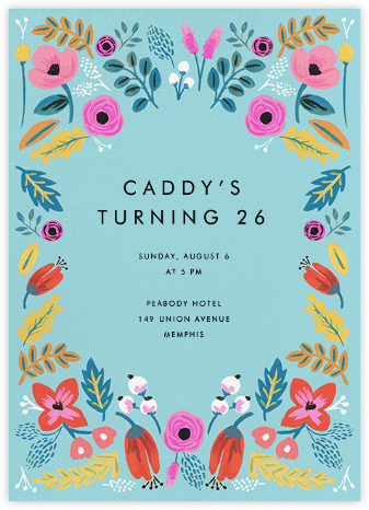 Folk Floral - Blue - Rifle Paper Co. - Adult Birthday Invitations