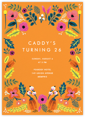 Folk Floral - Orange - Rifle Paper Co. - Adult Birthday Invitations