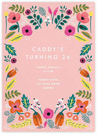 Folk Floral - Pink - Rifle Paper Co. - Adult Birthday Invitations