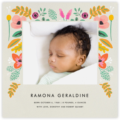 Folk Foliage - Cream - Rifle Paper Co. - Birth announcements